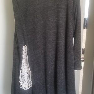 Dark Gray Dress with Crochet Sleeve